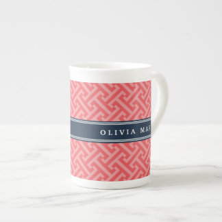 Tilted Watermelon Pink Greek Key Pattern with Name Tea Cup