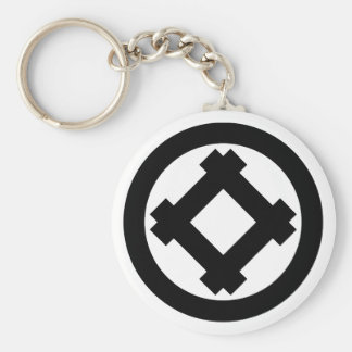 Tilted well frame in circle keychain