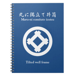 Tilted well frame in circle spiral notebook