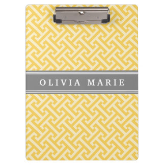 Tilted Yellow Greek Key Pattern with Name Clipboard