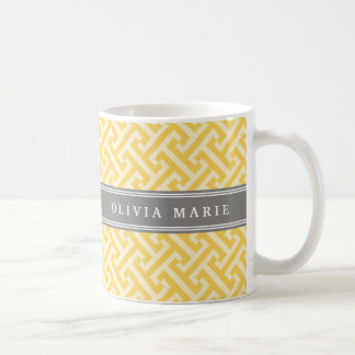 Tilted Yellow Greek Key Pattern with Name Coffee Mug