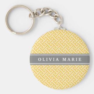 Tilted Yellow Greek Key Pattern with Name Key Chains