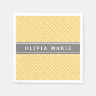 Tilted Yellow Greek Key Pattern with Name Napkin