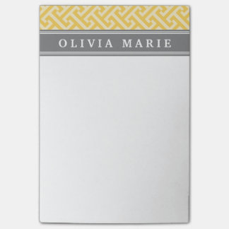 Tilted Yellow Greek Key Pattern with Name Post-it Notes