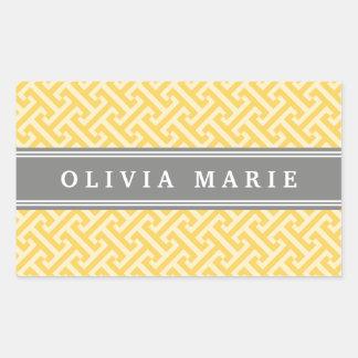 Tilted Yellow Greek Key Pattern with Name Rectangular Sticker