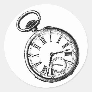 Tilting Clock Pocket Watch Face Timepiece Classic Round Sticker