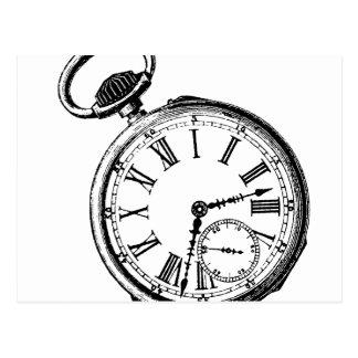 Tilting Clock Pocket Watch Face Timepiece Postcard
