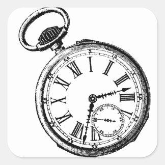 Tilting Clock Pocket Watch Face Timepiece Square Sticker