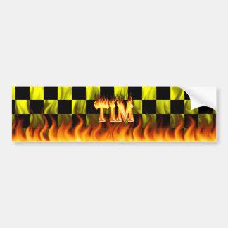 Tim real fire and flames bumper sticker design.