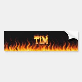 Tim real fire and flames bumper sticker design. car bumper sticker