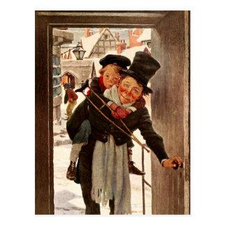 Tim y Bob minúsculos Cratchit el día de navidad Tarjeta Postal