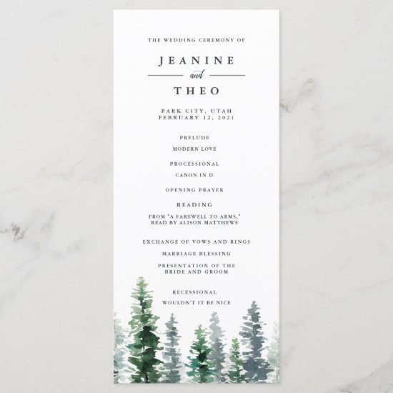 Timber Grove Wedding Ceremony Program