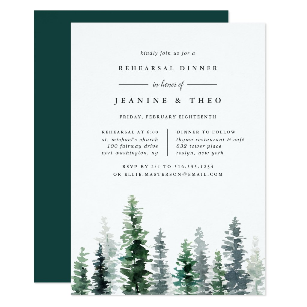 Timber Grove | Winter Rehearsal Dinner Invitation