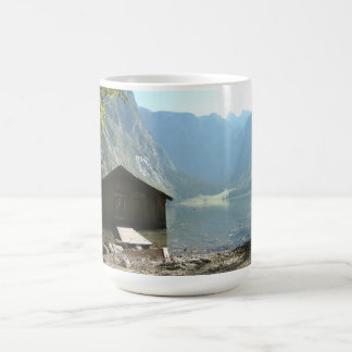 Timber house by a lake coffee mug