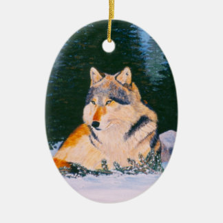 Timber Wolf Ceramic Ornament