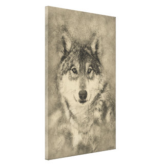 Timber Wolf digital Illustration Canvas Print