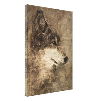 Timber Wolf digital Pencil Drawing on Canvas