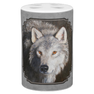 Timber Wolf Face Gray Bath Set