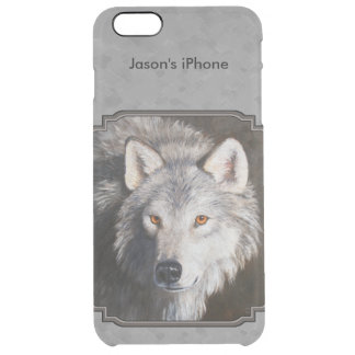 Timber Wolf Face Gray Clear iPhone 6 Plus Case