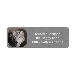 Timber Wolf Face Gray Label