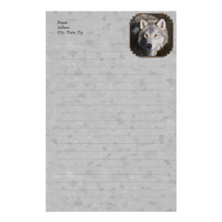 Timber Wolf Face Gray Stationery