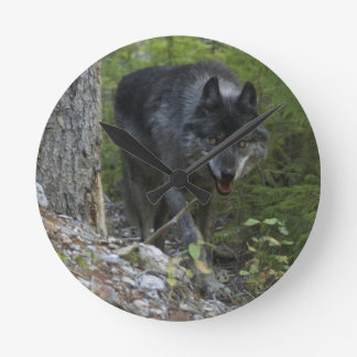 Timber Wolf & Forest Wildlife Photo Clock