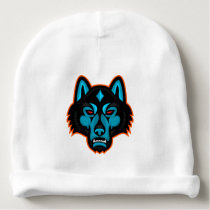 Timber Wolf Head Sports Mascot Baby Beanie