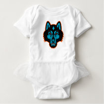 Timber Wolf Head Sports Mascot Baby Bodysuit