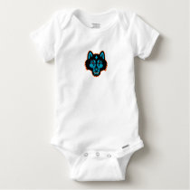 Timber Wolf Head Sports Mascot Baby Onesie