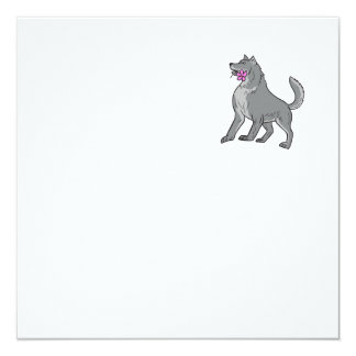 Timber Wolf Holding Plumeria Flower Drawing Card