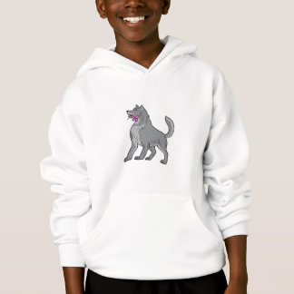 Timber Wolf Holding Plumeria Flower Drawing Hoodie