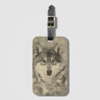 Timber Wolf Iluustration Luggage Tag