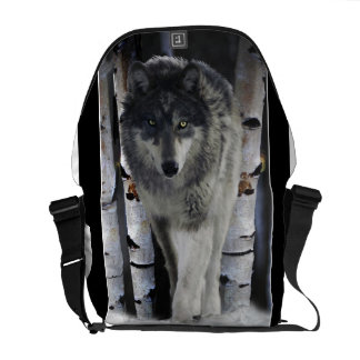 Timber Wolf in Winter Snow Wildlife  Messenger Bag
