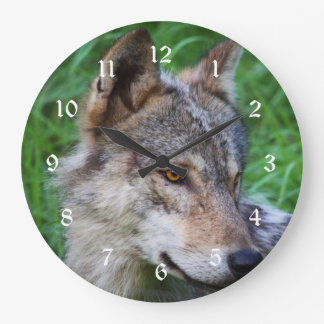 Timber Wolf Large Clock
