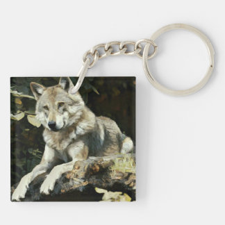 Timber Wolf Painting Keychain
