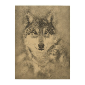 Timber Wolf Pencil Drawing on Wood Panel Wood Wall Decor