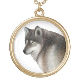 Timber Wolf Portrait Necklace