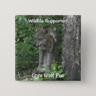 Timber Wolf Pup Wildlife ID pin