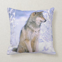 Timber Wolf sitting in the Snow, Canis lupus, Throw Pillow