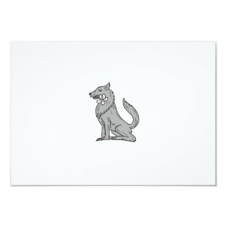 Timber Wolf Sitting Plumeria Flower Drawing Card