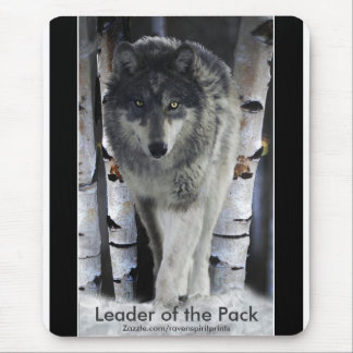 Timber Wolf, Snow and Trees Wildlife Art Mouse Pad
