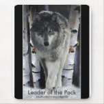 Timber Wolf, Snow and Trees Wildlife Art Mousepad