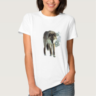 Timber Wolf With Green Flowers Decal Shirt