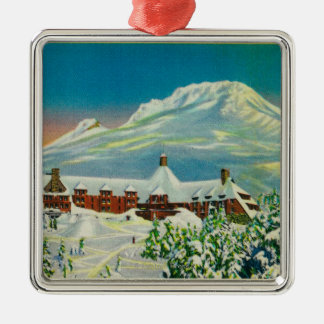 Timberline Lodge in Winter at Mt. Hood Square Metal Christmas Ornament