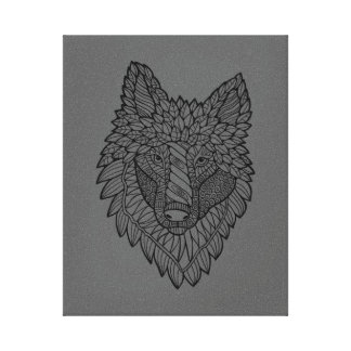 Timberwolf Lineart Design Canvas Print