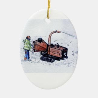 Timberwolf wood chipper ceramic ornament