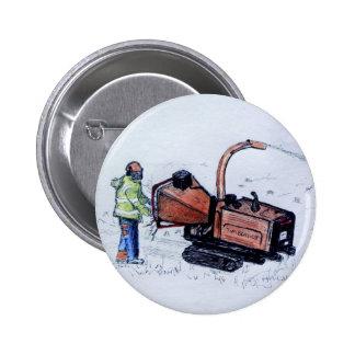 Timberwolf wood chipper pinback button