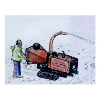 Timberwolf wood chipper postcard