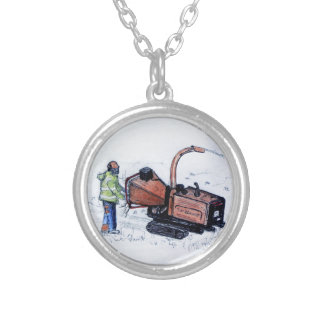 Timberwolf wood chipper silver plated necklace