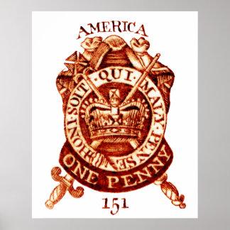 Timbre fiscal de 1765 americanos impresiones